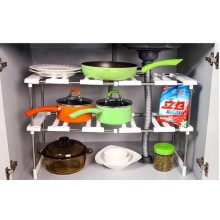 Expandable 2 Layers Stainless Steel Under the Sink Rack / Shelf Organizer Shelf for Kitchen and Bathroom