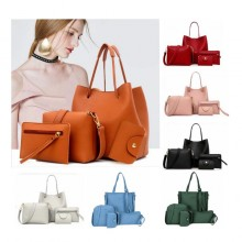 4 Pcs / 1 Set New Women Leather Handbag Tangan Wanita Bags Women's Handbag Tote Purse Lady S004