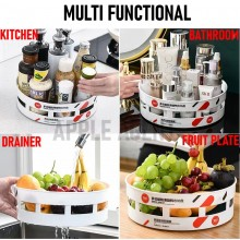 Malaysia Stock Kitchen Durable Rotating 360° Rotating Spice Storage Rack Tray Shelf Cabinets Seasoning Bottle Organizer