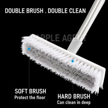 [UPGRADED]Long Handle Bathtub Clean Floor Scrub Brush,Adjustable Stainless Metal Handle, Scrubber with Stiff Bristles