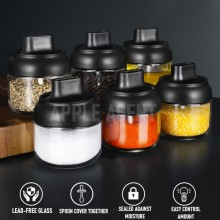 Seasoning Bottle with Spoon, Condiment bottle, Spice Bottle, Seasoning bottle with jar, Oil bottle