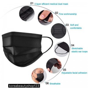 [Malaysia Ready Stock] 10PCS/HYGIENE PACK Black Mask 3ply Disposable Face Mask