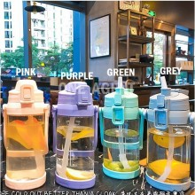 【MALAYSIA STOCK】NEW Large Capacity Water Bottle Portable with straw Food Grade PP Big Bottle 1000/2200ml 大容量便携式水壶