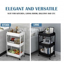 [MSIA STOCK] Multifunction 3 tier Trolley Storage Rack Foldable Trolley Lockable Wheels