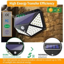 UPGRADED Outdoor garden light charging led solar motion wall lamp 100LED