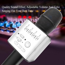 Q9 Microphone Bluetooth Wireless Karaoke (ENGLISH VERSION) Professional tuning button, High pitch / Bass / Volume / Accompany