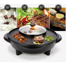 2 in 1 Korean BBQ Grill & Steamboat Teppanyaki Hot Pot Shabu Roast Fry Pan Round